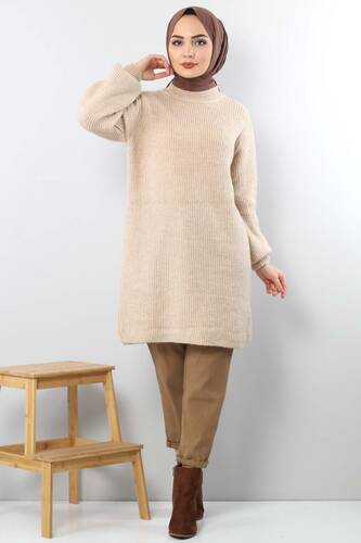 Tesettür Dünyası - Trico Wide Sleeves Tunic TSD3647 Light Brown.