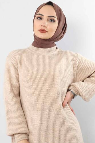 Tesettür Dünyası - Trico Wide Sleeves Tunic TSD3647 Light Brown. (1)