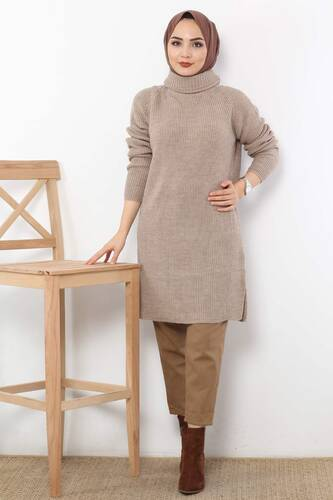 Tricot Tunic TSD6045 Brown. - Thumbnail