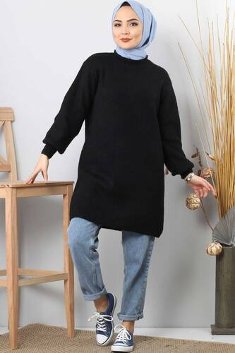 Tesettür Dünyası - Tricot Wide Sleeve Sweater TSD3647 Black.