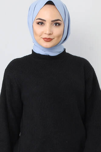 Tesettür Dünyası - Tricot Wide Sleeve Sweater TSD3647 Black. (1)