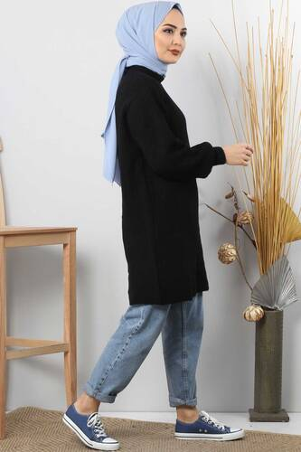 Tricot Wide Sleeve Sweater TSD3647 Black. - Thumbnail