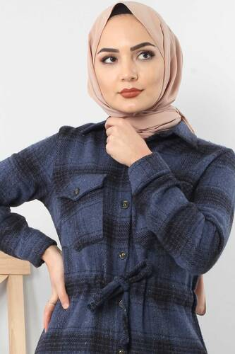 Tricot with neck tunic TSD6045 blue. - Thumbnail