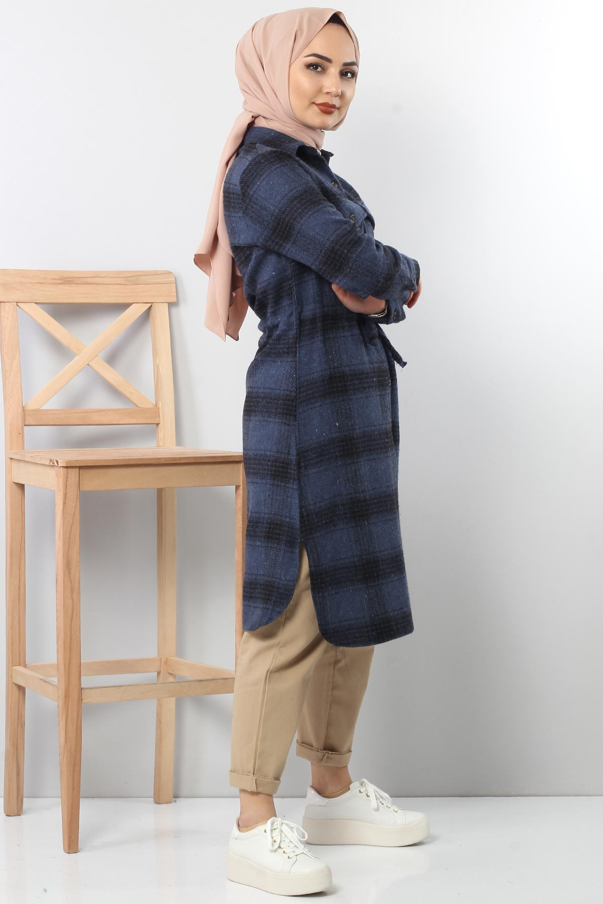 Tricot with neck tunic TSD6045 blue.