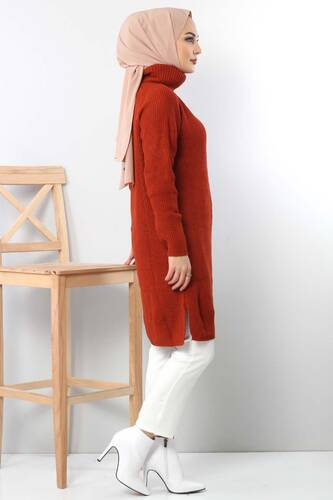Tricot with neck tunic TSD6045 in brick color. - Thumbnail