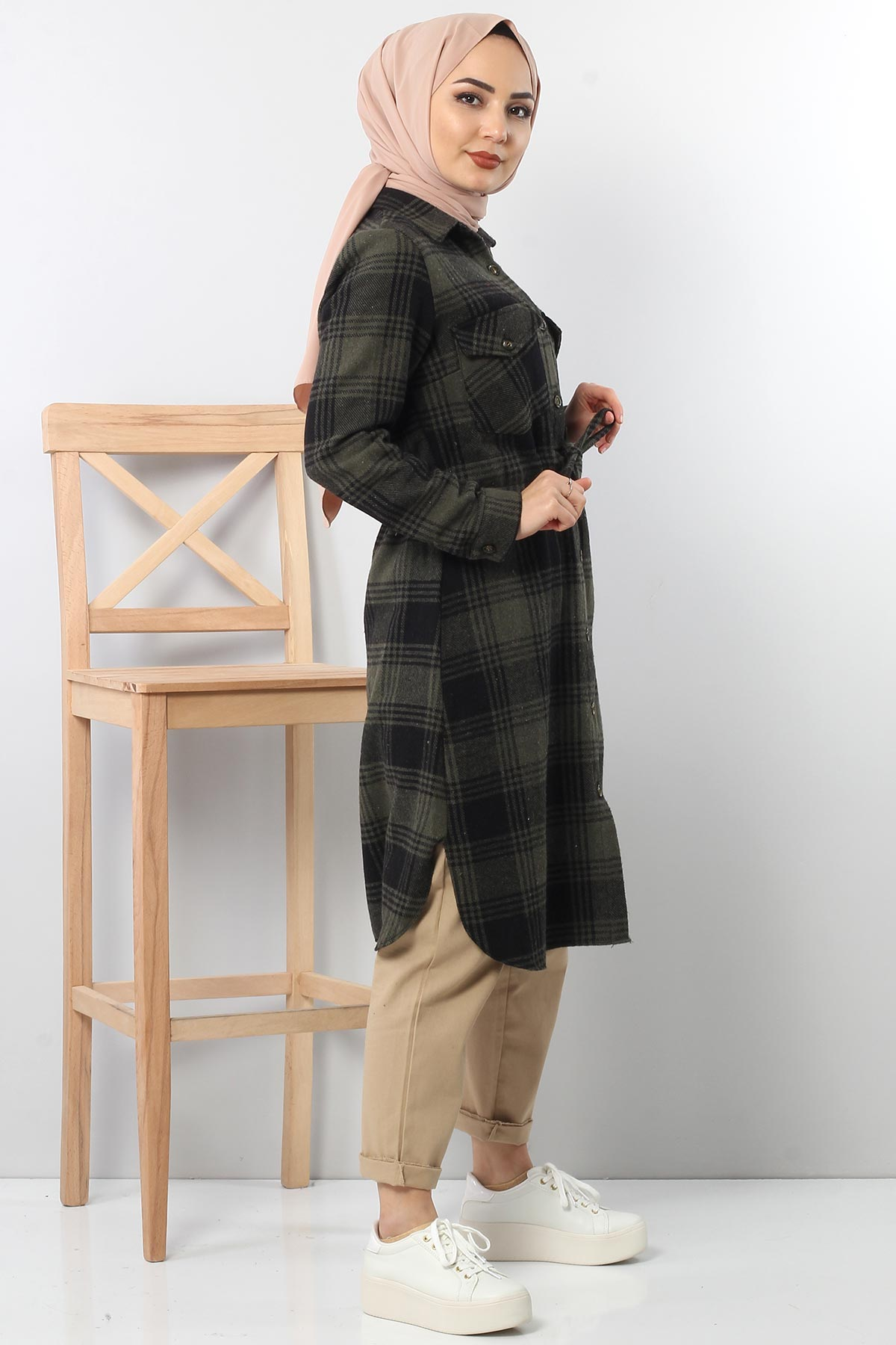 Tricot with neck tunic TSD6045 khaki color.