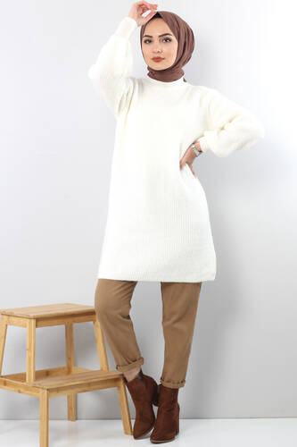 Tesettür Dünyası - Trikot Wide Sleeve Tunic TSD3647 in Milk.
