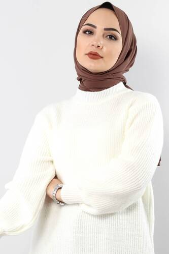 Tesettür Dünyası - Trikot Wide Sleeve Tunic TSD3647 in Milk. (1)