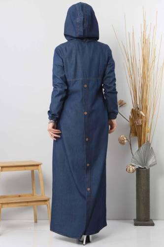 عباية حجاب جينز بتفاصيل أزرار TSD 8220 كحلي - Thumbnail
