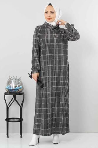 Tesettür Dünyası - فستان منقوش TSD0069 مربعات أسود.