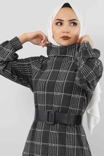 Tesettür Dünyası - فستان منقوش TSD0069 مربعات أسود. (1)