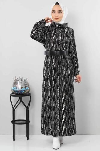 Tesettür Dünyası - فستان منقوش TSD0076 أسود.