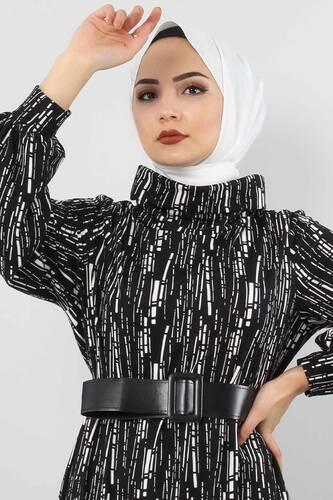 Tesettür Dünyası - فستان منقوش TSD0076 أسود. (1)