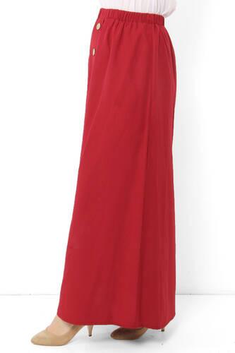 تنورة مزينة بأزرار TSD0124 أحمر كلاريت - Thumbnail