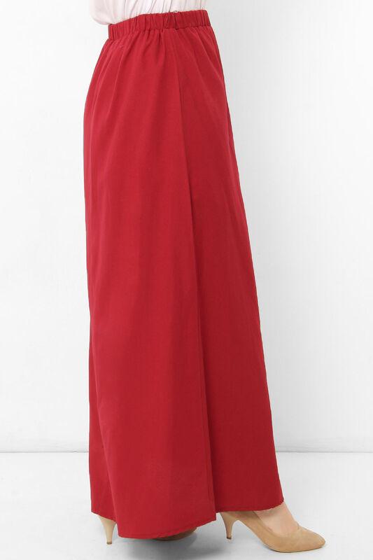 تنورة مزينة بأزرار TSD0124 أحمر كلاريت