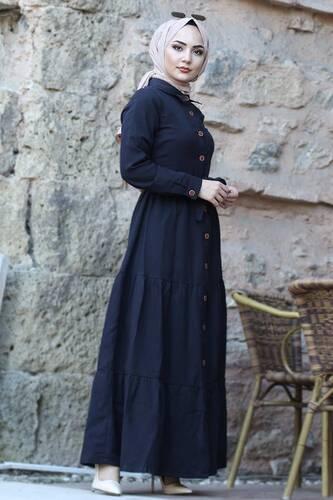 فستان بأزرار TSD0172 أسود - Thumbnail