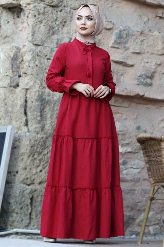 فستان بأكمام مطاطية TSD0173 أحمر كلاريت