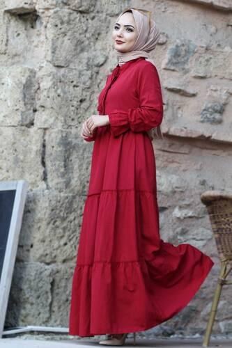 فستان بأكمام مطاطية TSD0173 أحمر كلاريت - Thumbnail