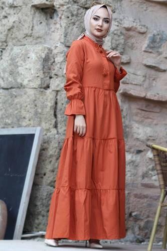 فستان بأكمام مطاطية TSD0173 برتقالي - Thumbnail