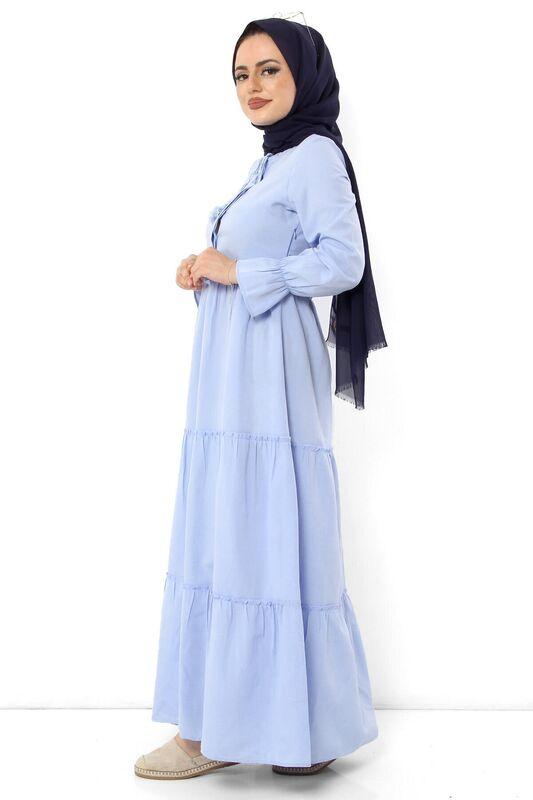 فستان بأكمام مطاطية TSD0173 أزرق فاتح