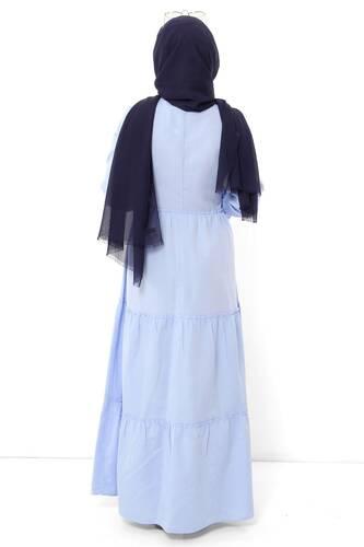 فستان بأكمام مطاطية TSD0173 أزرق فاتح - Thumbnail