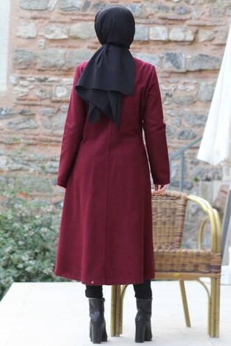 معطف تنورة مطرزة TSD0217 كلاريت أحمر - Thumbnail