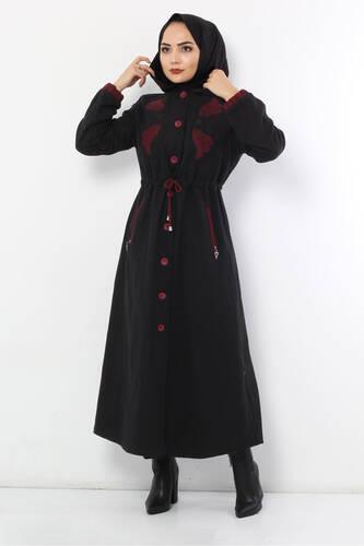 معطف صوف مطرز TSD0223 أسود - Thumbnail