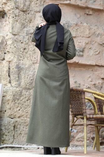 معطف صوف بنقشة TSD0225 كاكي - Thumbnail