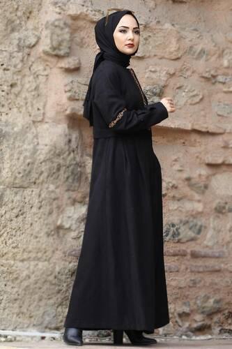 معطف صوف مطرز كامل الطول TSD0263 أسود - Thumbnail