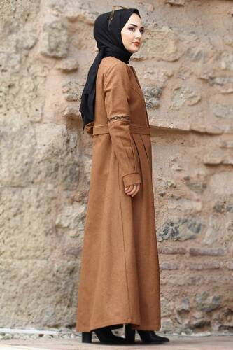 معطف صوف كامل الطول TSD0263 طابا - Thumbnail