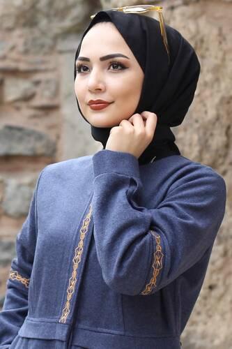 معطف صوف مطرز كامل الطول TSD0263 نيلي - Thumbnail