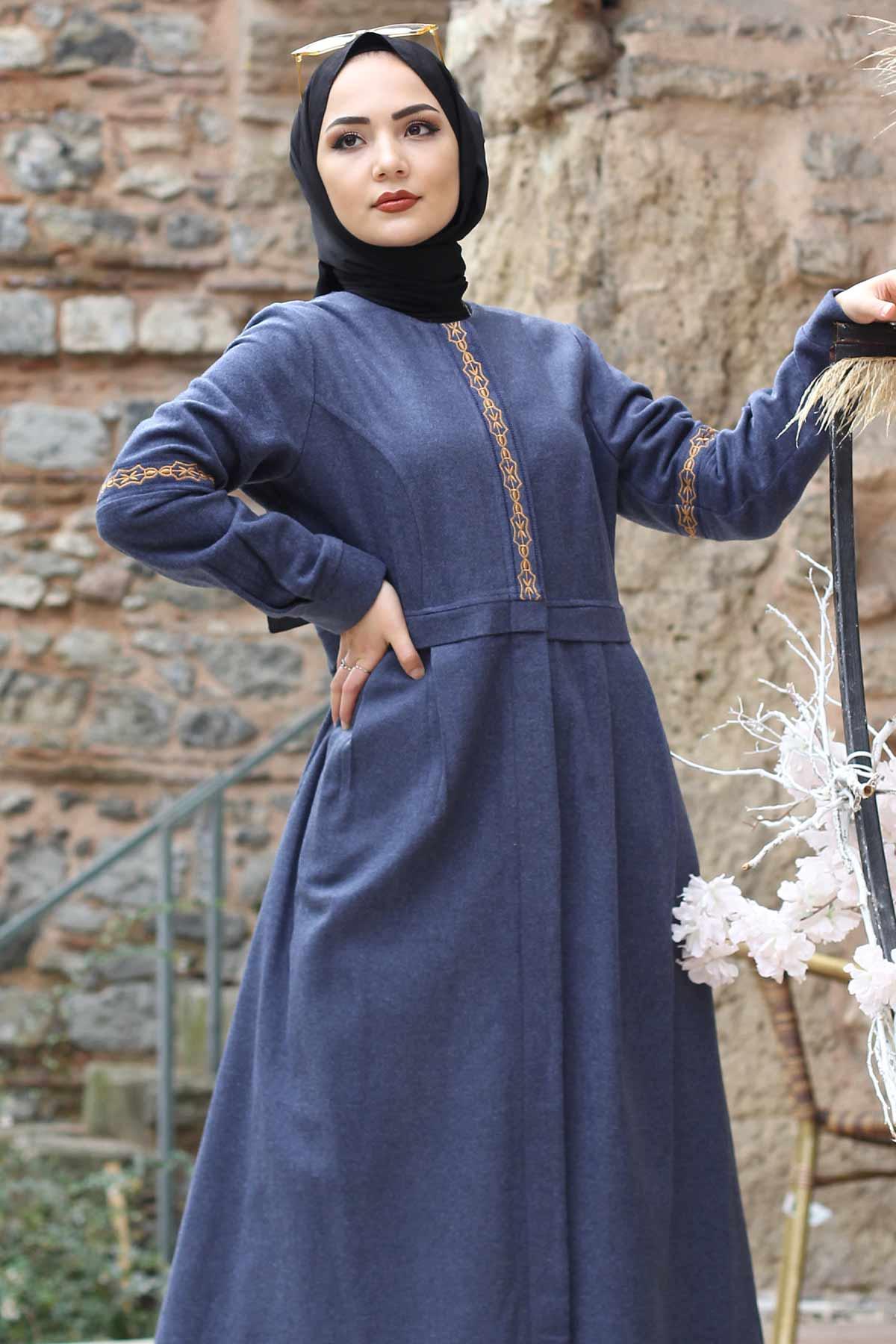 معطف صوف مطرز كامل الطول TSD0263 نيلي