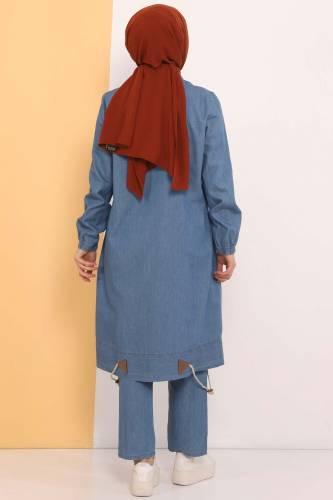 طقم جينز مزدوج التنورة TSD0450 أزرق فاتح - Thumbnail