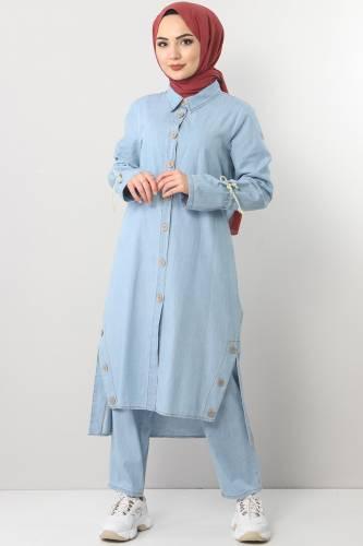بدلة جينز TSD0454 أزرق فاتح2 - Thumbnail