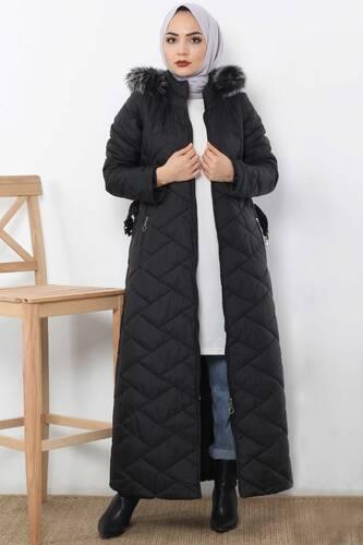 معطف طويل مبطن TSD0795 أسود - Thumbnail