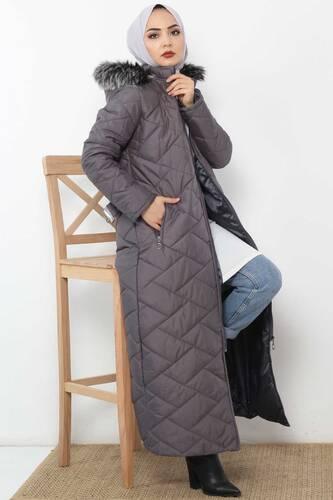 معطف طويل مبطن TSD0795 رمادي - Thumbnail