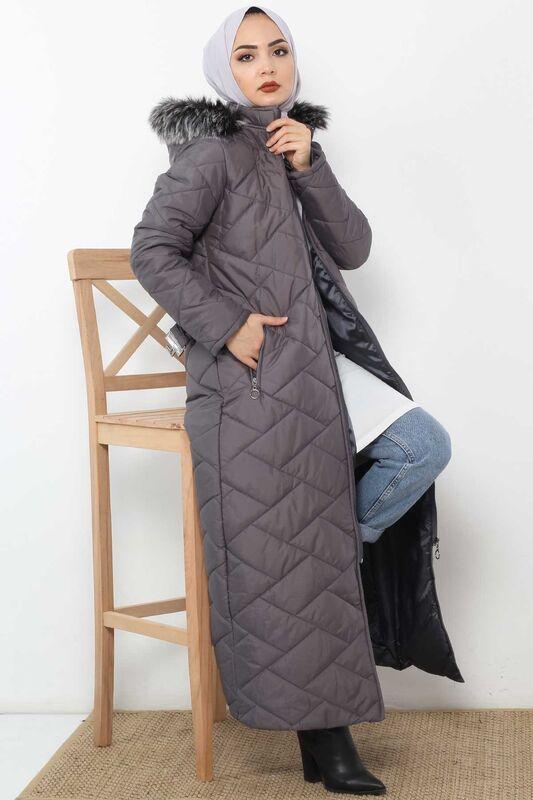 معطف طويل مبطن TSD0795 رمادي
