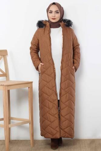 معطف طويل مبطن TSD0795 طابا - Thumbnail