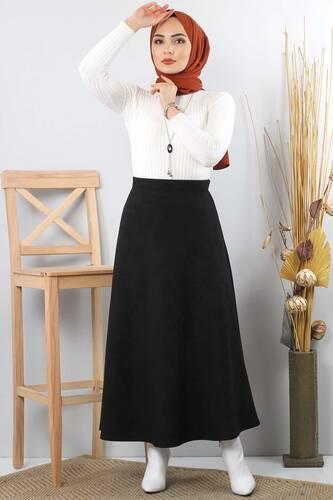 تنورة جلد مدبوغ TSD0811 أسود - Thumbnail