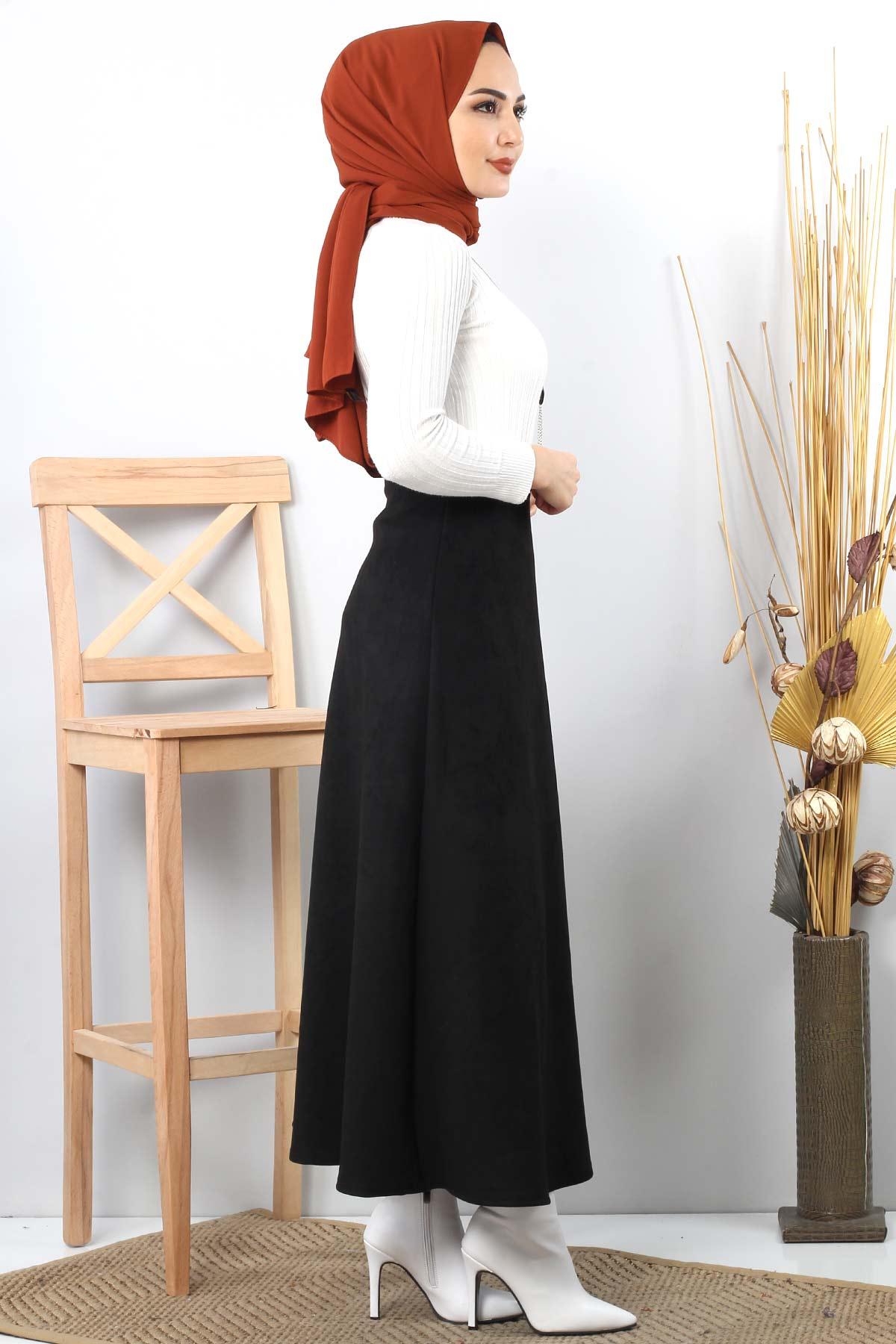 تنورة جلد مدبوغ TSD0811 أسود