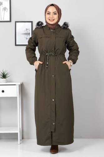 معطف كامل الطول مع فرو من الداخل TSD0883 كاكي - Thumbnail