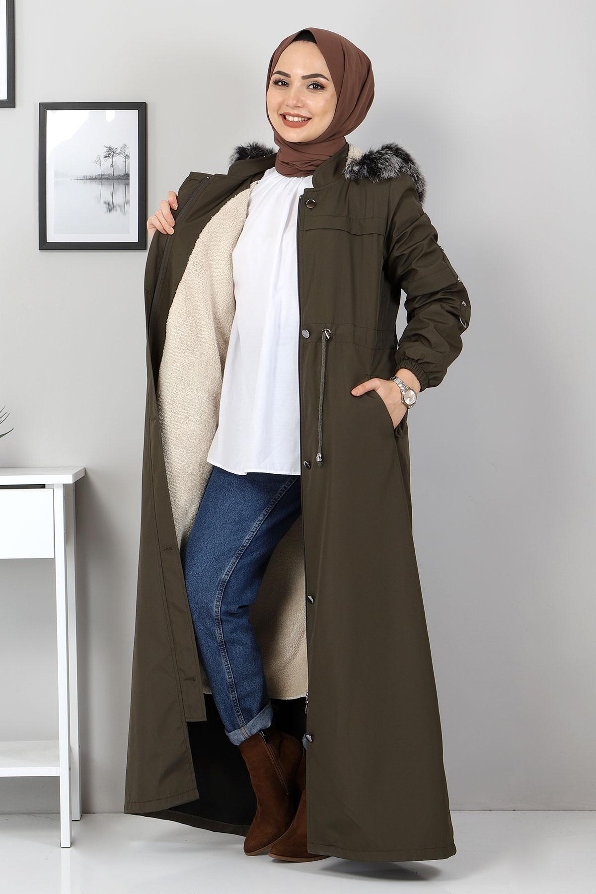 معطف كامل الطول مع فرو من الداخل TSD0883 كاكي