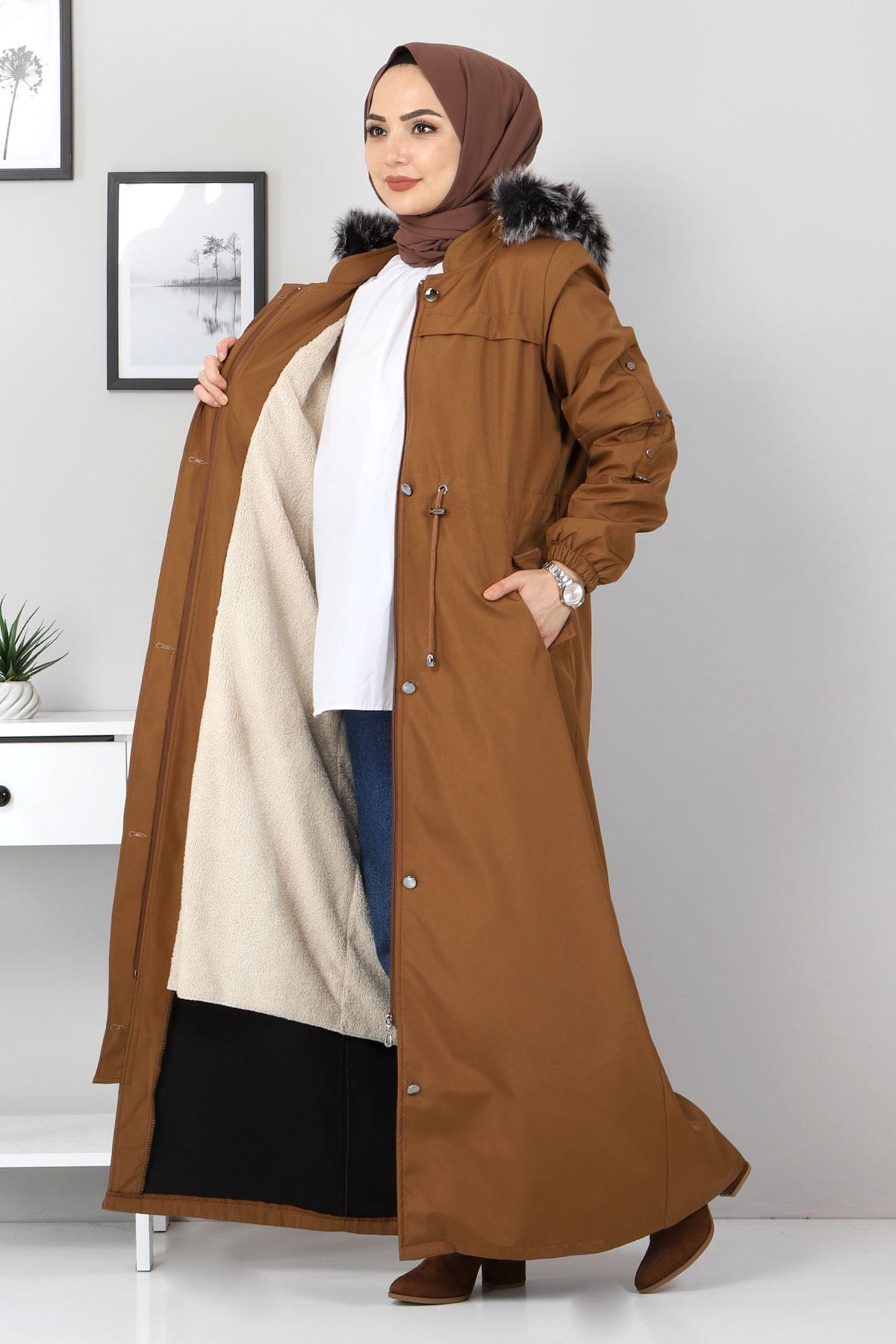 معطف طويل مع فرو من الداخل TSD0883 طابا