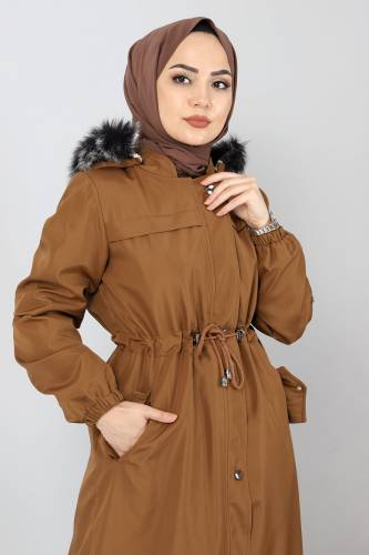 معطف طويل مع فرو من الداخل TSD0883 طابا - Thumbnail