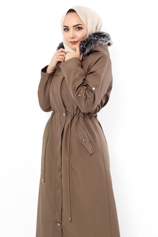 معطف كامل الطول مع فرو داخل TSD0883 مينك