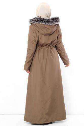 معطف كامل الطول مع فرو داخل TSD0883 مينك - Thumbnail