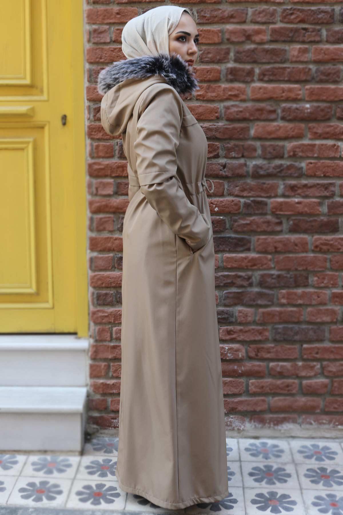 معطف كامل الطول مع فرو من الداخل TSD0883 بيج