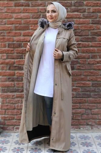 معطف كامل الطول مع فرو من الداخل TSD0883 بيج - Thumbnail