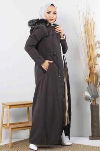 معطف كامل الطول مع فروTSD0883 مدخن - Thumbnail