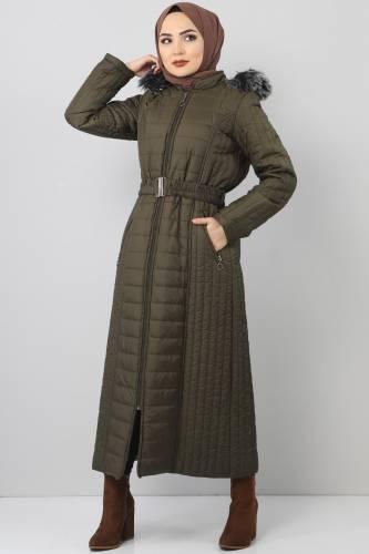 معطف طويل مبطن TSD0887 خاكي - Thumbnail